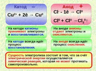 Катод Анод – + Сu2+ + 2ē → Cu0 Сl- - 1ē → Cl0 Cl0 + Cl0 →Cl20↑ На катоде кати
