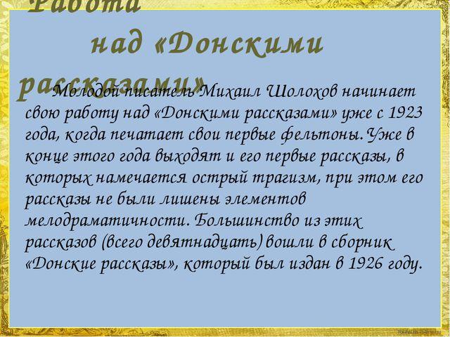 Работа над «Донскими рассказами» Молодой писатель Михаил Шолохов начинает св...