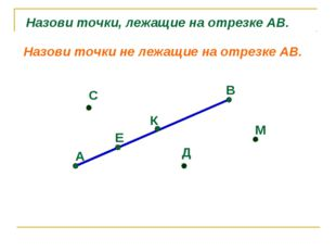 А Е К В С Д М Назови точки, лежащие на отрезке АВ. Назови точки не лежащие на