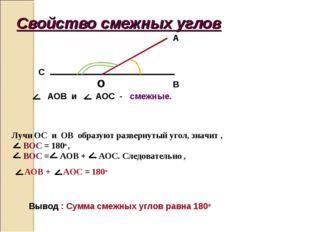 Свойство смежных углов o B A C AOB и AOC - смежные. Лучи OC и ОВ образуют раз