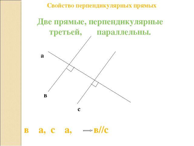 Свойство перпендикулярных прямых Две прямые, перпендикулярные третьей, паралл...