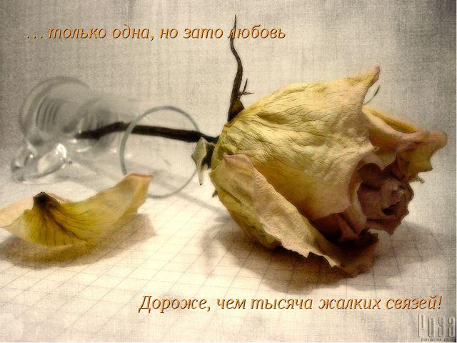 … только одна, но зато любовь Дороже, чем тысяча жалких связей!