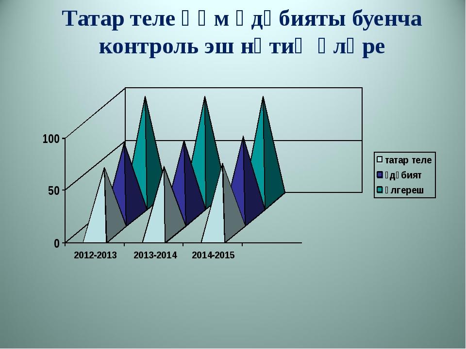 Татар теле һәм әдәбияты буенча контроль эш нәтиҗәләре