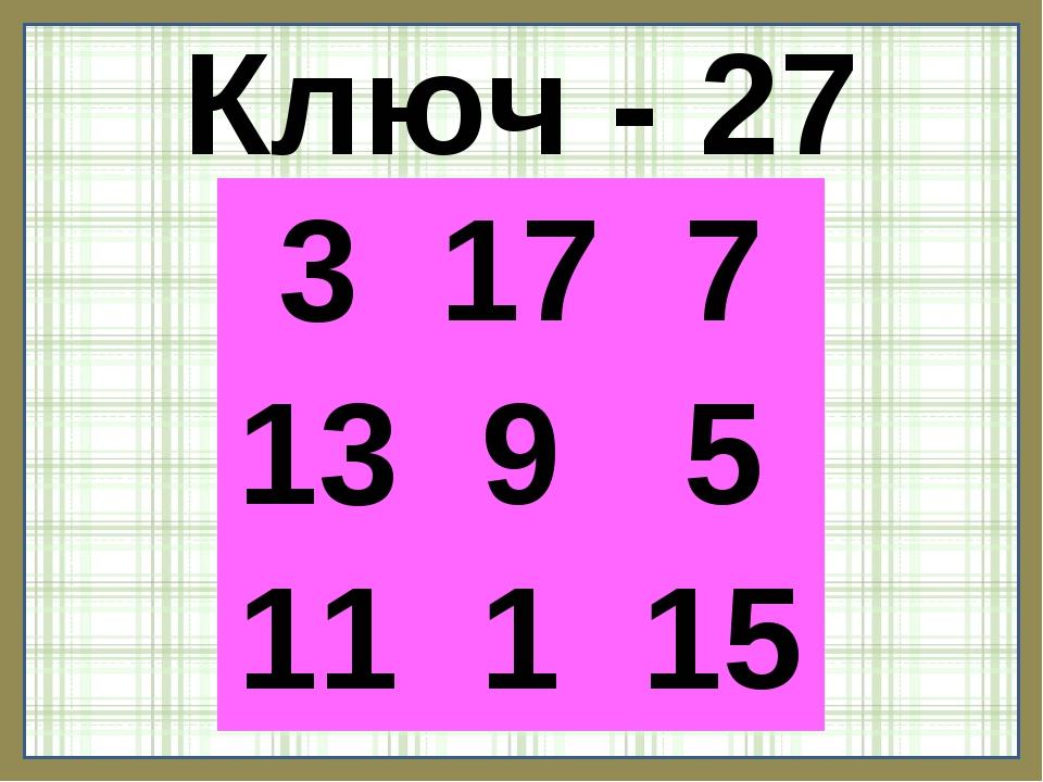 Ключ - 27 3177 1395 11115