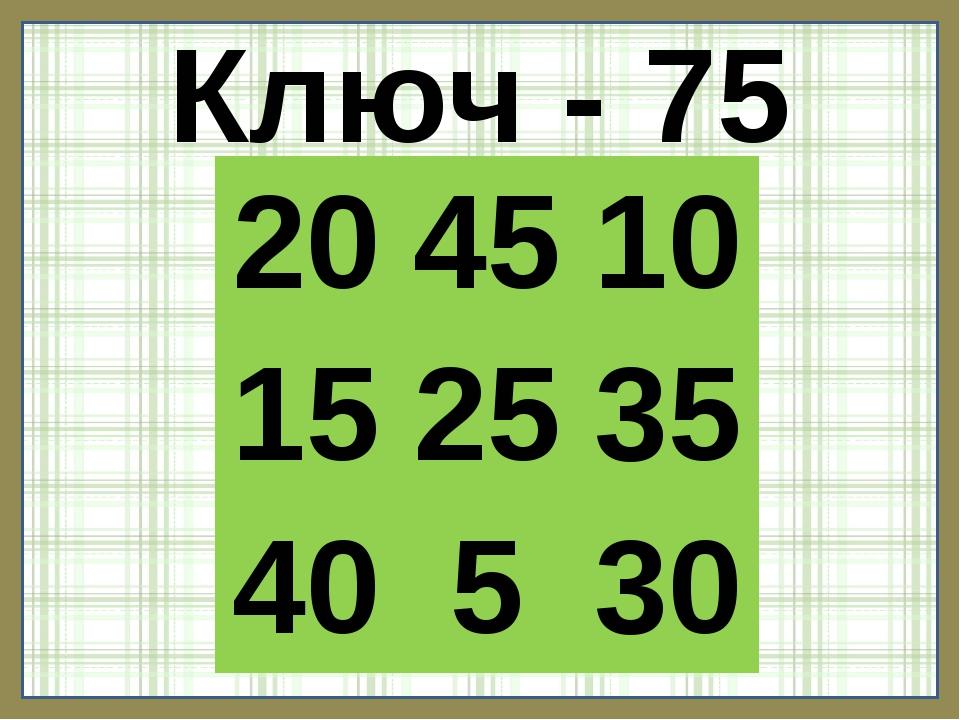 Ключ - 75 204510 152535 40530