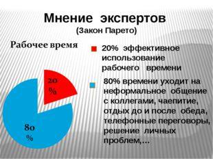 Мнение экспертов (Закон Парето) 20% эффективное использование рабочего времен