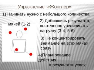 Упражнение «Жонглер» 1) Начинать нужно с небольшого количества мячей (1-2) 3)