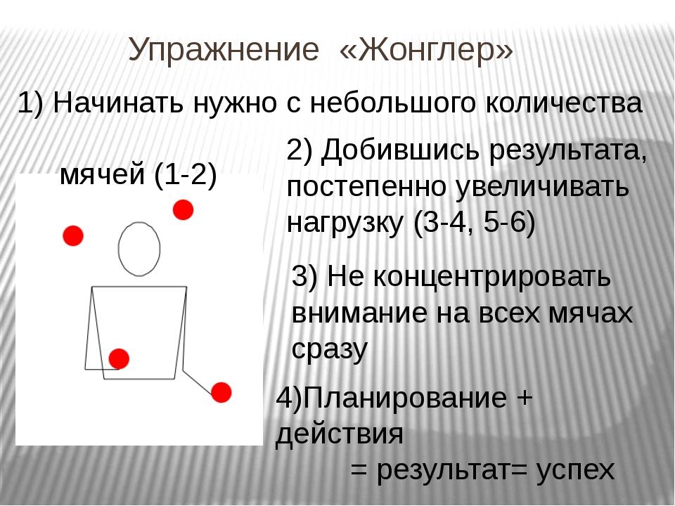 Упражнение «Жонглер» 1) Начинать нужно с небольшого количества мячей (1-2) 3)...
