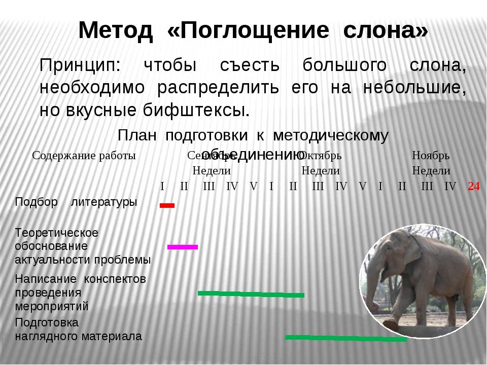 Метод «Поглощение слона» Принцип: чтобы съесть большого слона, необходимо рас...