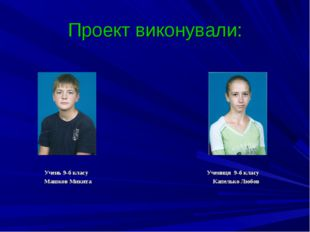 Проект виконували: Учень 9-б класу Учениця 9-б класу Машков Микита Капелько Л