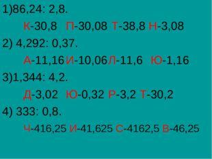 1)86,24: 2,8. К-30,8П-30,08 Т-38,8 Н-3,08 2) 4,292: 0,37. А-11,16И-10,