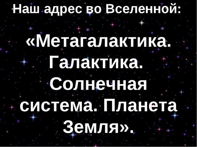 Наш адрес во Вселенной: «Метагалактика. Галактика. Солнечная система. Планета...