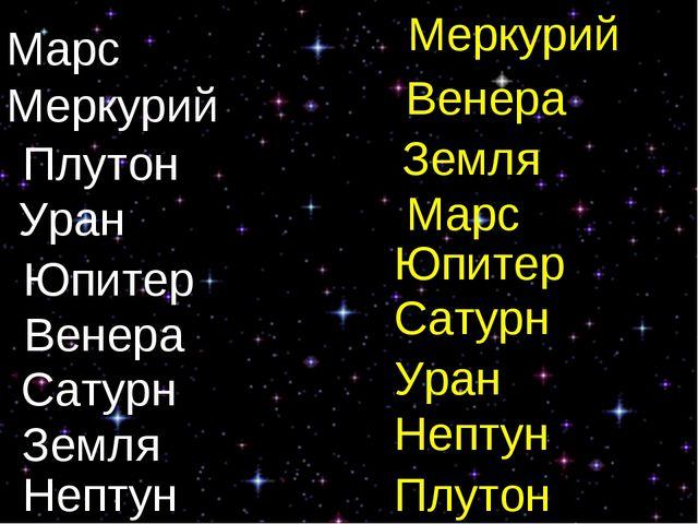 Марс Меркурий Плутон Уран Юпитер Венера Сатурн Земля Нептун Меркурий Венера...