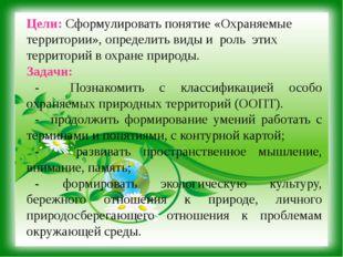 Цели: Сформулировать понятие «Охраняемые территории», определить виды и роль