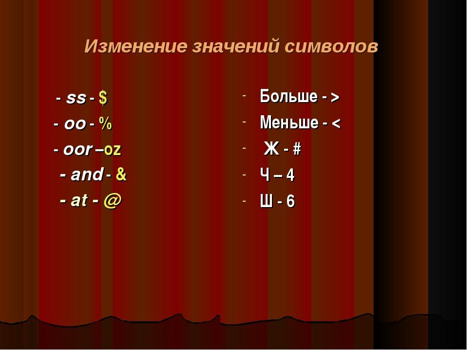Изменение значений символов - ss - $ - oo - % - oor –oz - and - & - at - @ Бо...