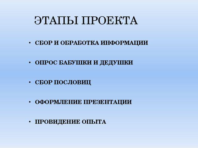 ЭТАПЫ ПРОЕКТА СБОР И ОБРАБОТКА ИНФОРМАЦИИ ОПРОС БАБУШКИ И ДЕДУШКИ СБОР ПОСЛОВ...