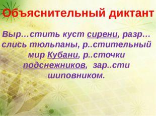 Выр…стить куст сирени, разр…слись тюльпаны, р..стительный мир Кубани, р..сто