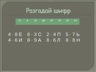 4 · 8 Е6 · 3 С2 · 4 П5 · 7 Ь 4 · 6 И8 · 9 А8 · 6 Л8 · 8 Н 728324835