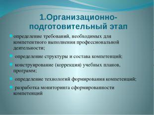 1.Организационно-подготовительный этап определение требований, необходимых дл