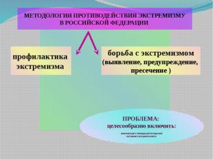 МЕТОДОЛОГИЯ ПРОТИВОДЕЙСТВИЯ ЭКСТРЕМИЗМУ В РОССИЙСКОЙ ФЕДЕРАЦИИ профилактика э