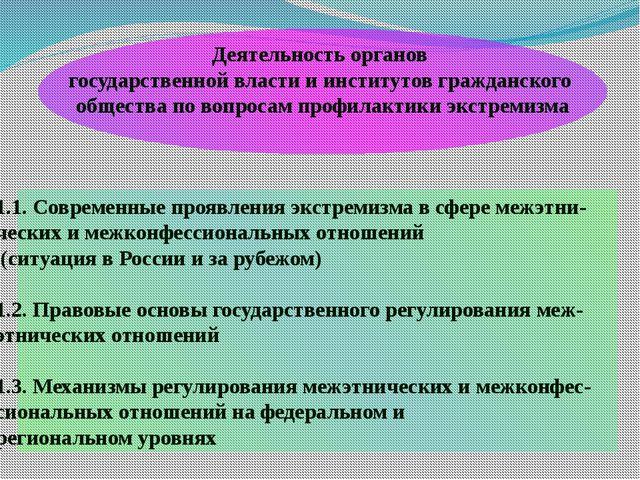 1.1. Современные проявления экстремизма в сфере межэтни- ческих и межконфесси...