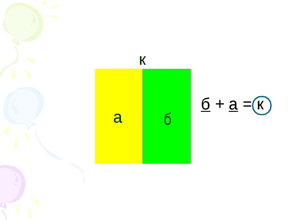а б к б + а = к