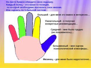 На листе бумаги обведите свою ладошку. Каждый палец – это какая то позиция, п