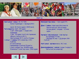 Халқы Халқының саны: 81 757 600. Батыс Еуропада 1- орында (2011 жыл). 82,4 мл