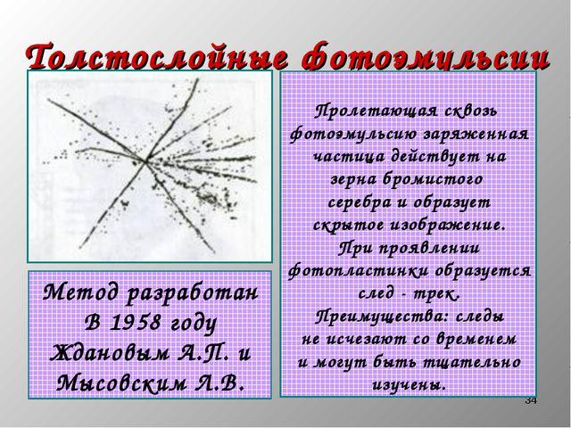 * Толстослойные фотоэмульсии Метод разработан В 1958 году Ждановым А.П. и Мыс...
