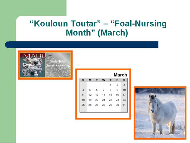 """Kouloun Toutar"" – ""Foal-Nursing Month"" (March)"