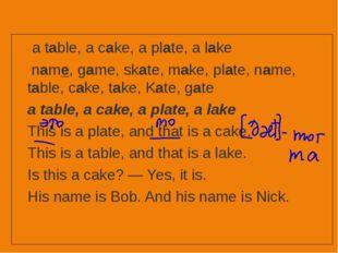 a table, a cake, a plate, a lake name, game, skate, make, plate, name, tabl