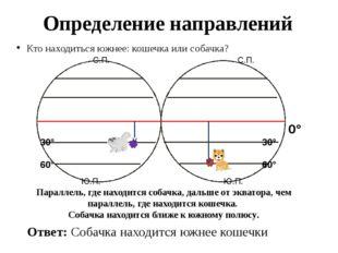 Определение направлений Кто находиться южнее: кошечка или собачка? 0° Ответ: