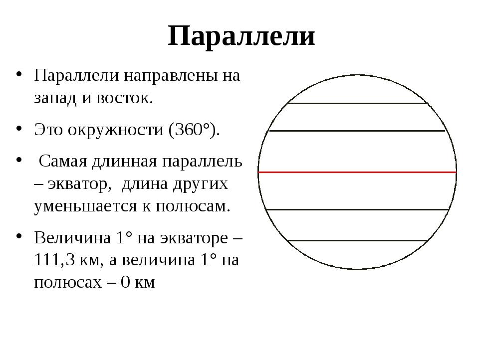 Параллели Параллели направлены на запад и восток. Это окружности (360°). Сама...