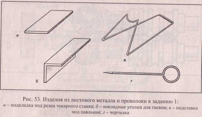 Изделия из листового металла и проволоки к заданию.