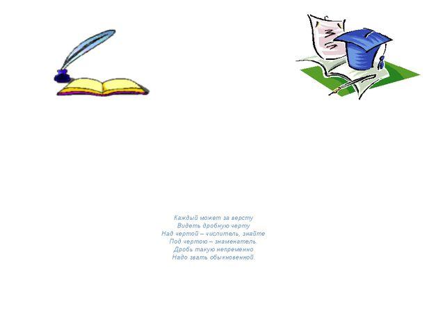 Каждый может за версту Видеть дробную черту Над чертой – числитель, знайте П...