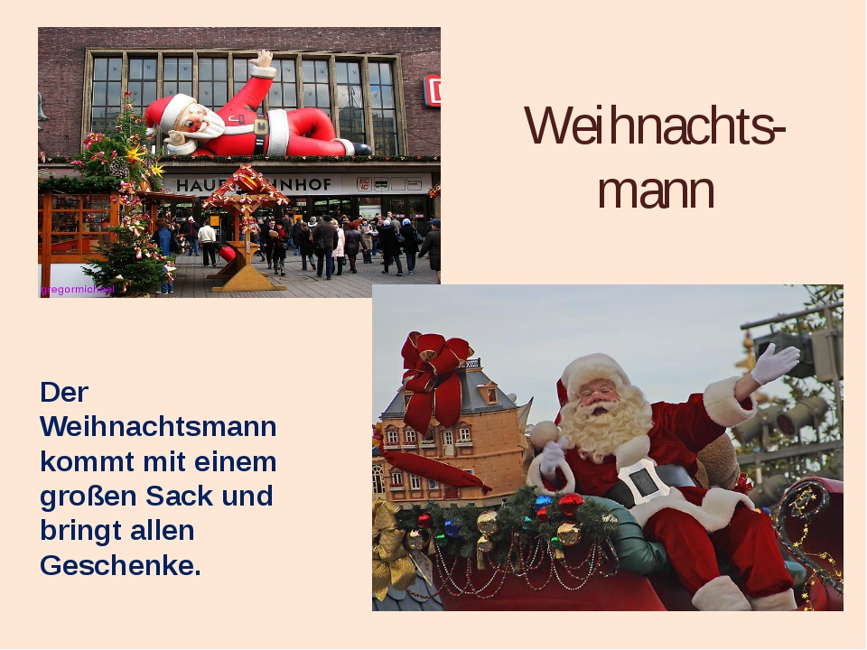 Weihnachts- mann Der Weihnachtsmann kommt mit einem großen Sack und bringt al...