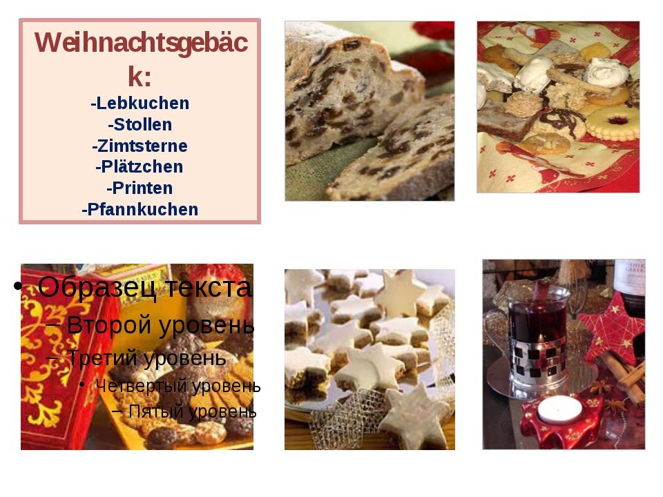 Weihnachtsgebäck: -Lebkuchen -Stollen -Zimtsterne -Plätzchen -Printen -Pfannk...