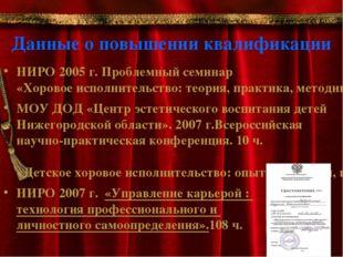 Данные о повышении квалификации НИРО 2005 г. Проблемный семинар «Хоровое испо