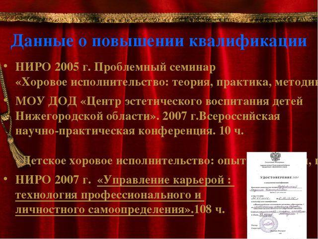 Данные о повышении квалификации НИРО 2005 г. Проблемный семинар «Хоровое испо...