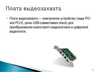 Плата видеозахвата — электронное устройство (чаще PCI или PCI-E, реже USB-сов