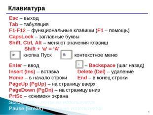 * Клавиатура Esc – выход Tab – табуляция F1-F12 – функциональные клавиши