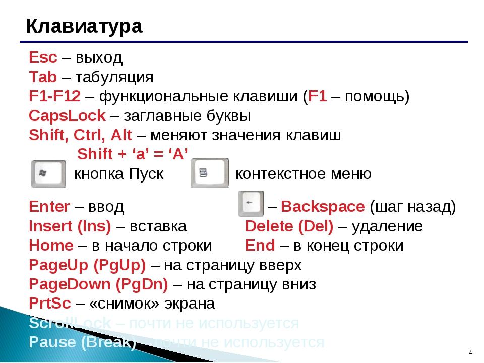 * Клавиатура Esc – выход Tab – табуляция F1-F12 – функциональные клавиши...