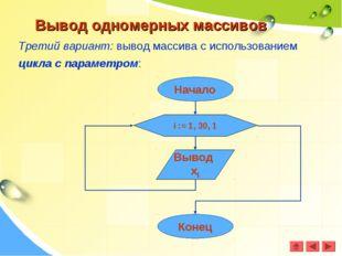Вывод одномерных массивов Третий вариант: вывод массива с использованием цикл