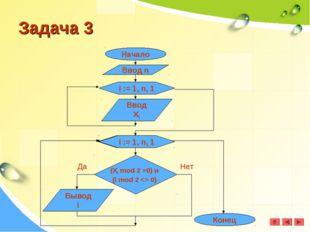 Задача 3 Начало Ввод n i := 1, n, 1 Ввод Xi (Xi mod 2 =0) и (i mod 2  0) Выво
