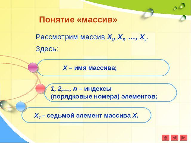 Рассмотрим массив Х1, Х2, …, Хn . Здесь: Понятие «массив» Х – имя массива; 1,...