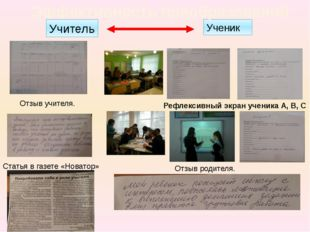Ученик Эффективность преобразований Учитель Рефлексивный экран ученика А, В,