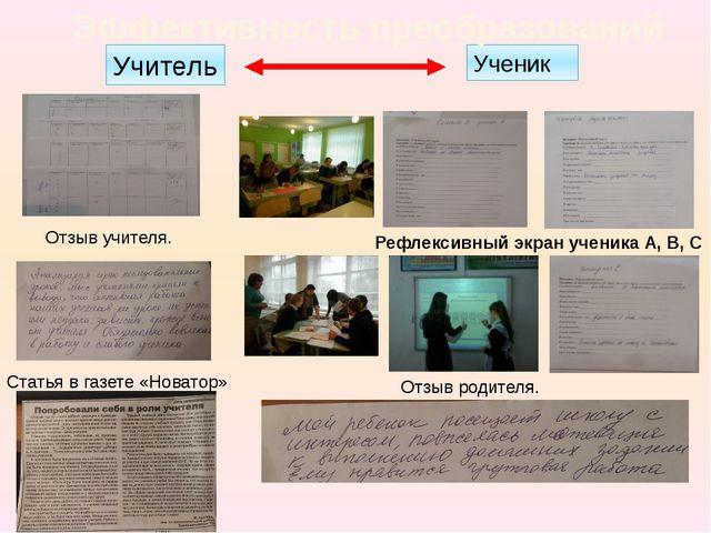 Ученик Эффективность преобразований Учитель Рефлексивный экран ученика А, В,...