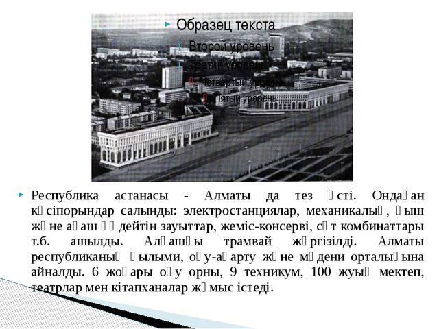Республика астанасы - Алматы да тез өсті. Ондаған кәсіпорындар салынды: элект...