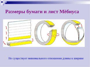 Размеры бумаги и лист Мёбиуса Не существует минимального отношения длины к ши