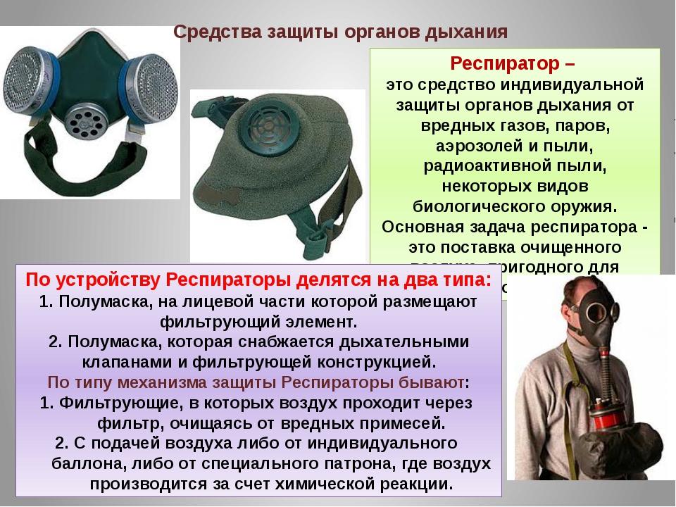 Респиратор – это средство индивидуальной защиты органов дыхания от вредных га...